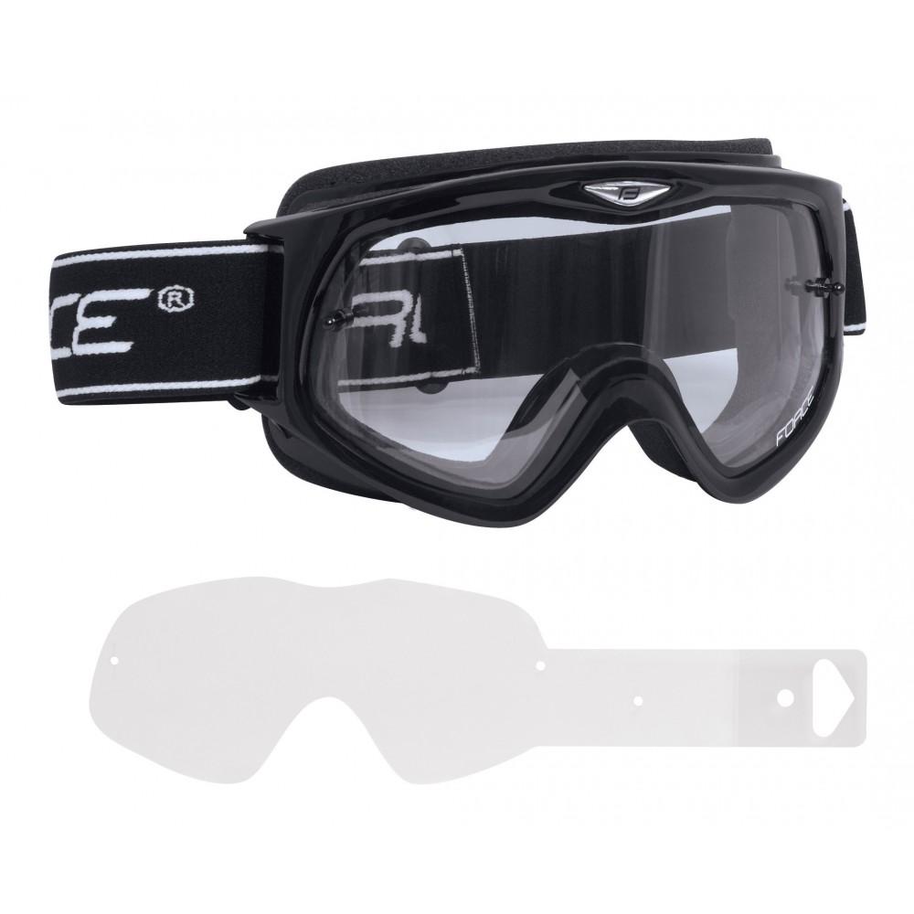Ochelari Force DH negri lentile transparente + 4 tear offs