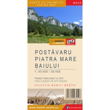 Harta Masivelor Postăvaru, Piatra Mare şi a Munţilor Baiulu